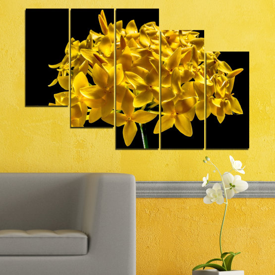 Canvas prints & wall decorative panels - 5 pieces №0479 » Green, Yellow, Orange, Black » Flowers, Collage, Shine Form #7