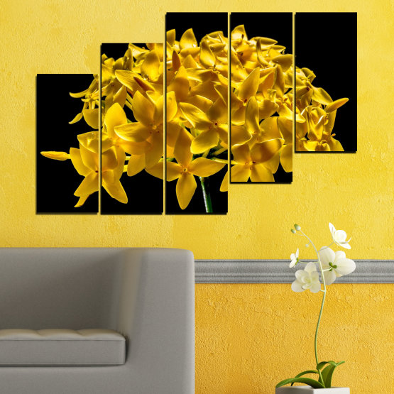 Canvas prints & wall decorative panels - 5 pieces №0479 » Green, Yellow, Orange, Black » Flowers, Collage, Shine Form #8