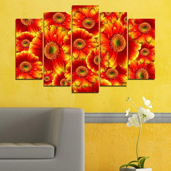 Декоративни панели и картини от канава - от 5 части №0480 » Червен, Жълт, Оранжев » Колаж, Букет, Гербер Form #1