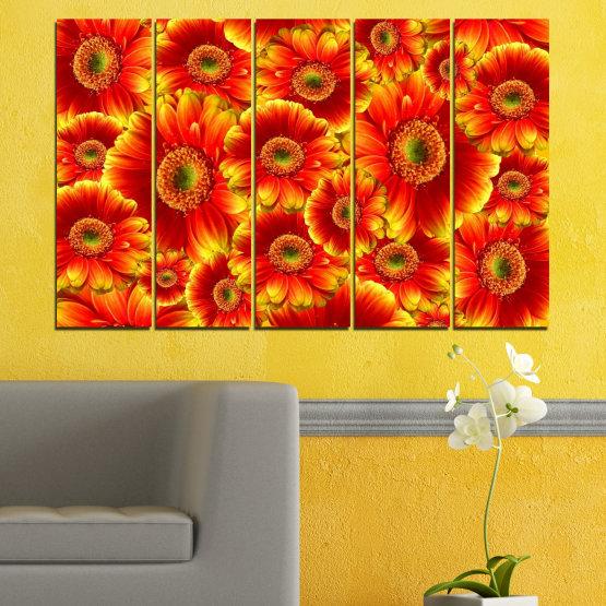 Декоративни панели и картини от канава - от 5 части №0480 » Червен, Жълт, Оранжев » Колаж, Букет, Гербер Form #2