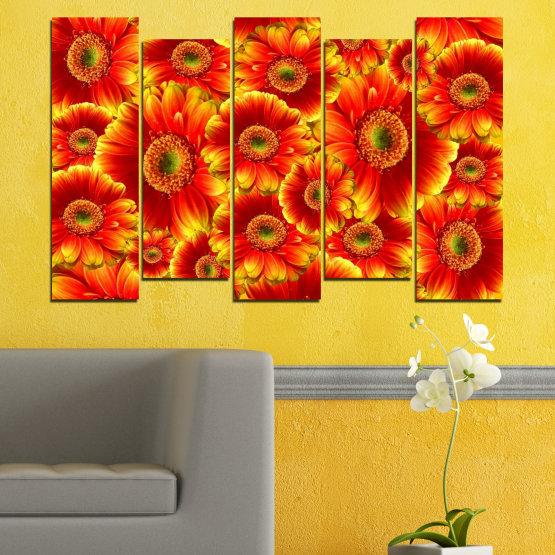 Декоративни панели и картини от канава - от 5 части №0480 » Червен, Жълт, Оранжев » Колаж, Букет, Гербер Form #3