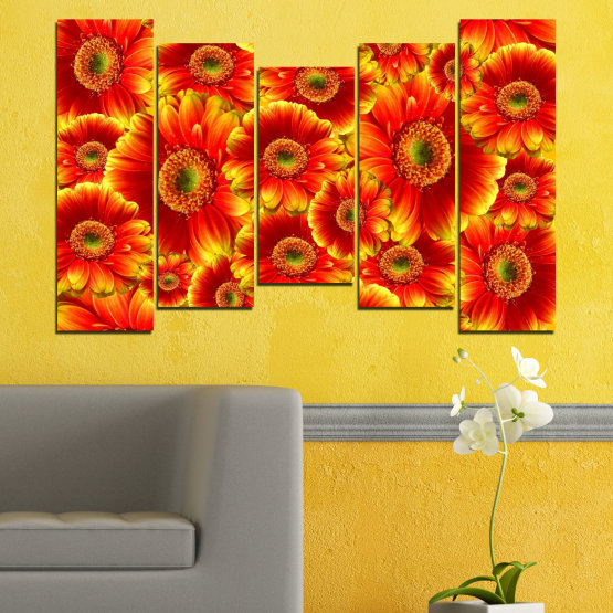Декоративни панели и картини от канава - от 5 части №0480 » Червен, Жълт, Оранжев » Колаж, Букет, Гербер Form #4