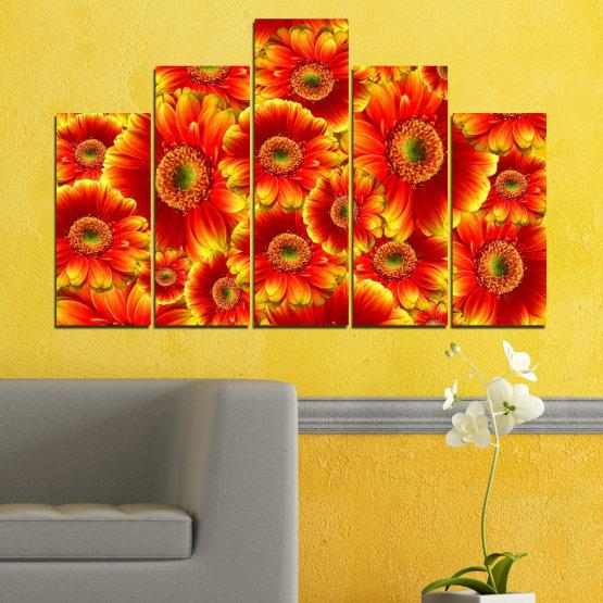 Декоративни панели и картини от канава - от 5 части №0480 » Червен, Жълт, Оранжев » Колаж, Букет, Гербер Form #5