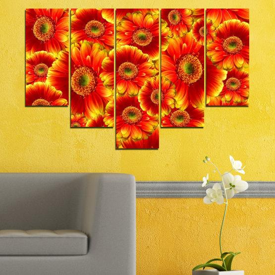 Декоративни панели и картини от канава - от 5 части №0480 » Червен, Жълт, Оранжев » Колаж, Букет, Гербер Form #6