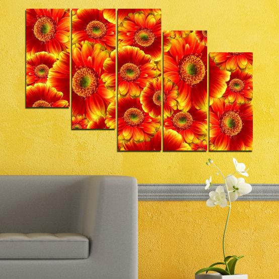 Декоративни панели и картини от канава - от 5 части №0480 » Червен, Жълт, Оранжев » Колаж, Букет, Гербер Form #7