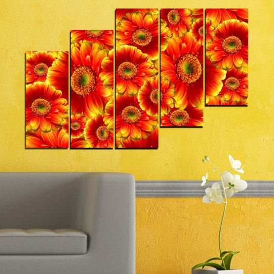 Декоративни панели и картини от канава - от 5 части №0480 » Червен, Жълт, Оранжев » Колаж, Букет, Гербер Form #8