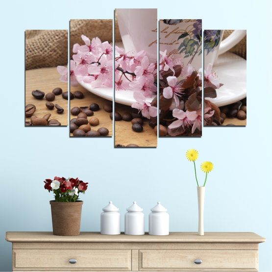 Canvas prints & wall decorative panels - 5 pieces №0481 » Brown, Gray, Dark grey » Flowers, Culinary, Coffee Form #1