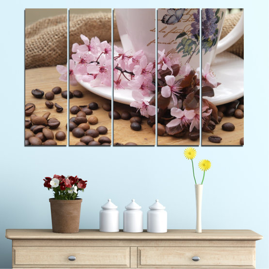 Canvas prints & wall decorative panels - 5 pieces №0481 » Brown, Gray, Dark grey » Flowers, Culinary, Coffee Form #2