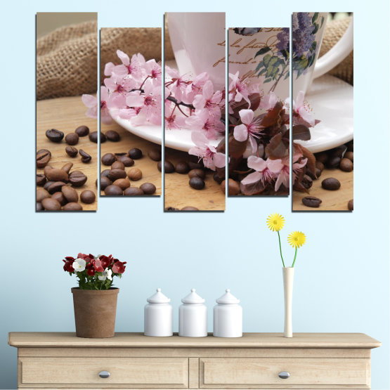 Canvas prints & wall decorative panels - 5 pieces №0481 » Brown, Gray, Dark grey » Flowers, Culinary, Coffee Form #3