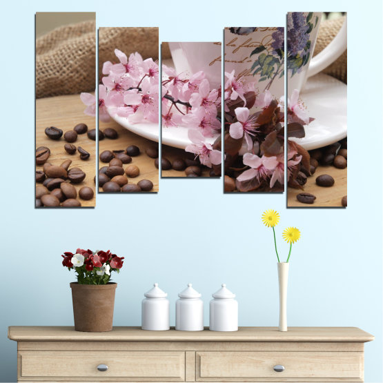 Canvas prints & wall decorative panels - 5 pieces №0481 » Brown, Gray, Dark grey » Flowers, Culinary, Coffee Form #4