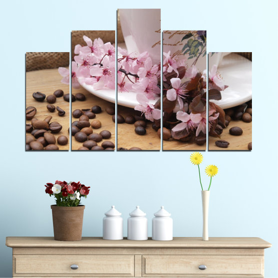 Canvas prints & wall decorative panels - 5 pieces №0481 » Brown, Gray, Dark grey » Flowers, Culinary, Coffee Form #5