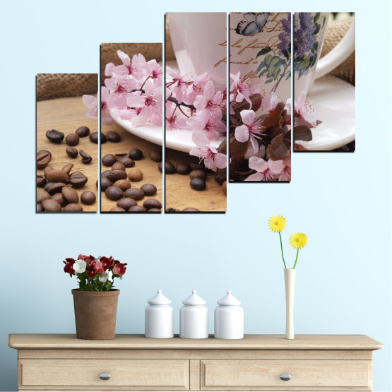 Canvas prints & wall decorative panels - 5 pieces №0481 » Brown, Gray, Dark grey » Flowers, Culinary, Coffee Form #8