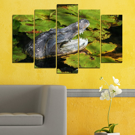 Canvas prints & wall decorative panels - 5 pieces №0482 » Green, Black, Dark grey » Animal, Crocodile, Reptile Form #1