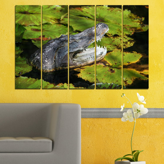 Canvas prints & wall decorative panels - 5 pieces №0482 » Green, Black, Dark grey » Animal, Crocodile, Reptile Form #2