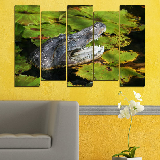 Canvas prints & wall decorative panels - 5 pieces №0482 » Green, Black, Dark grey » Animal, Crocodile, Reptile Form #3