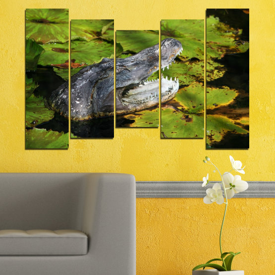 Canvas prints & wall decorative panels - 5 pieces №0482 » Green, Black, Dark grey » Animal, Crocodile, Reptile Form #4