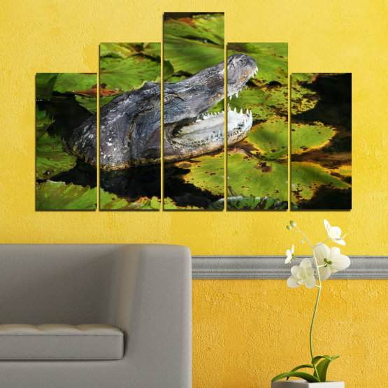 Canvas prints & wall decorative panels - 5 pieces №0482 » Green, Black, Dark grey » Animal, Crocodile, Reptile Form #5