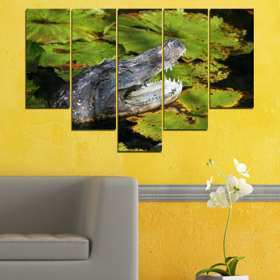Canvas prints & wall decorative panels - 5 pieces №0482 » Green, Black, Dark grey » Animal, Crocodile, Reptile Form #6