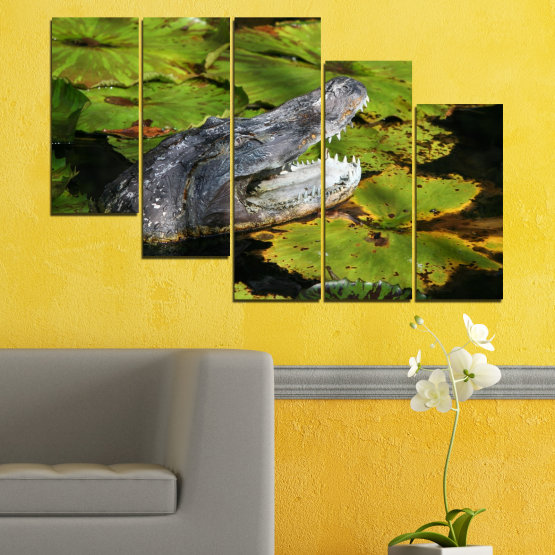 Canvas prints & wall decorative panels - 5 pieces №0482 » Green, Black, Dark grey » Animal, Crocodile, Reptile Form #7