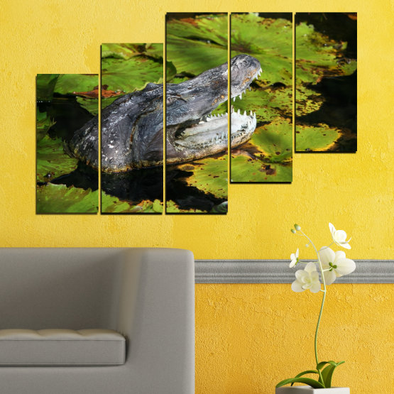 Canvas prints & wall decorative panels - 5 pieces №0482 » Green, Black, Dark grey » Animal, Crocodile, Reptile Form #8