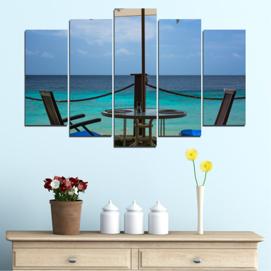 Canvas prints & wall decorative panels - 5 pieces №0483 » Turquoise, Black, Gray, Dark grey » Sea, Water, View, Summer Form #1