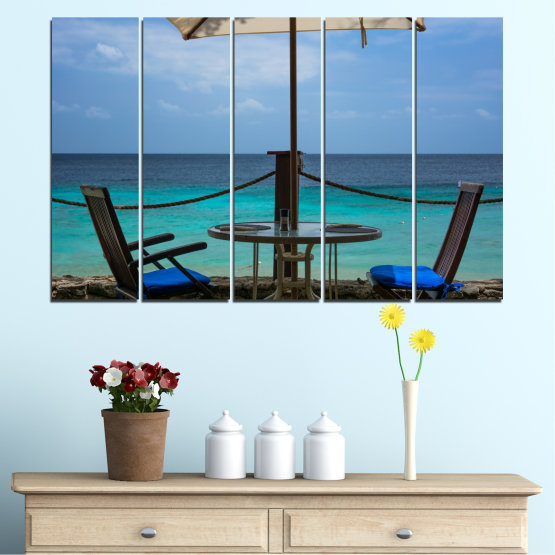 Canvas prints & wall decorative panels - 5 pieces №0483 » Turquoise, Black, Gray, Dark grey » Sea, Water, View, Summer Form #2