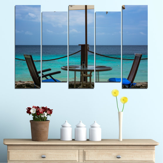 Canvas prints & wall decorative panels - 5 pieces №0483 » Turquoise, Black, Gray, Dark grey » Sea, Water, View, Summer Form #3