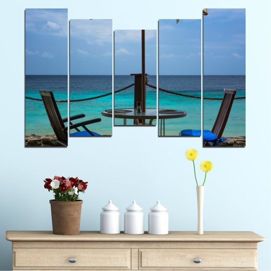 Canvas prints & wall decorative panels - 5 pieces №0483 » Turquoise, Black, Gray, Dark grey » Sea, Water, View, Summer Form #4