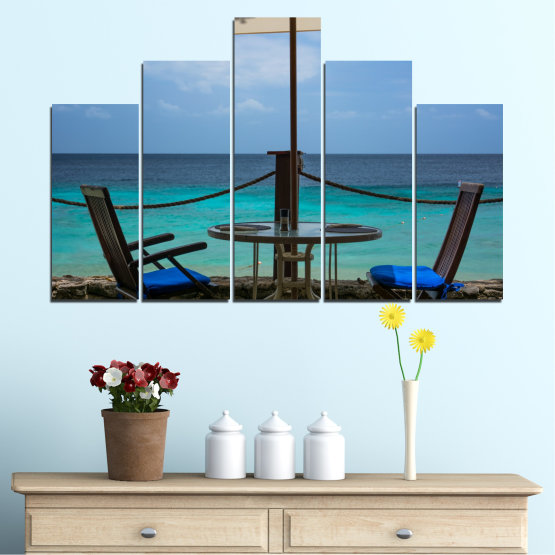 Canvas prints & wall decorative panels - 5 pieces №0483 » Turquoise, Black, Gray, Dark grey » Sea, Water, View, Summer Form #5