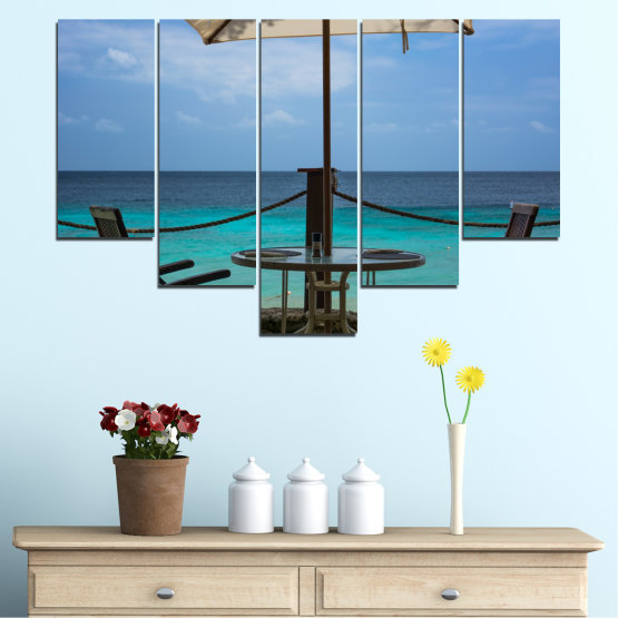 Canvas prints & wall decorative panels - 5 pieces №0483 » Turquoise, Black, Gray, Dark grey » Sea, Water, View, Summer Form #6