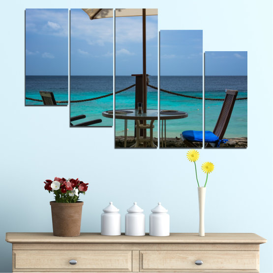 Canvas prints & wall decorative panels - 5 pieces №0483 » Turquoise, Black, Gray, Dark grey » Sea, Water, View, Summer Form #7