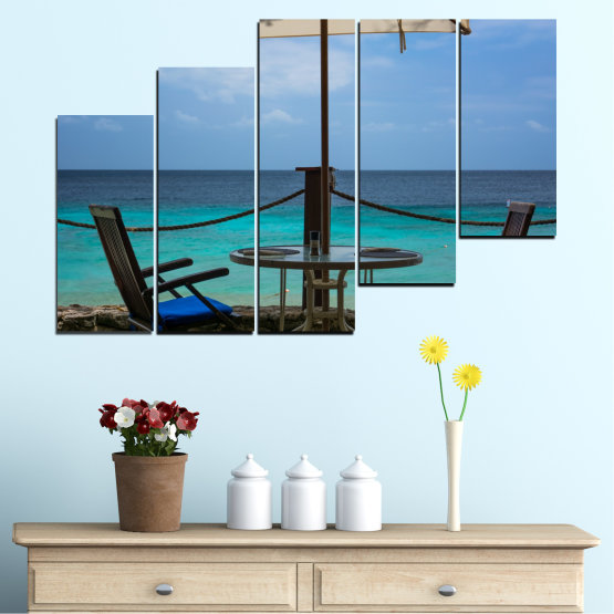 Canvas prints & wall decorative panels - 5 pieces №0483 » Turquoise, Black, Gray, Dark grey » Sea, Water, View, Summer Form #8