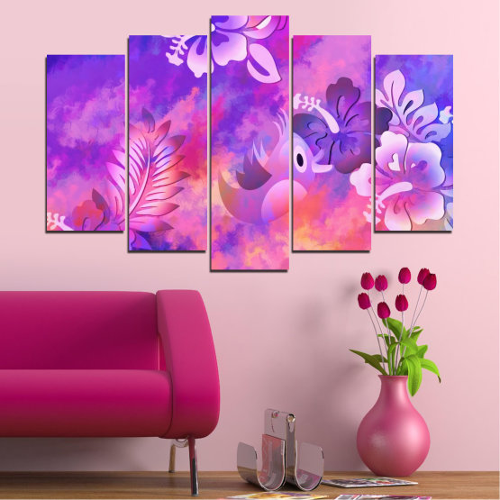Canvas prints & wall decorative panels - 5 pieces №0484 » Pink, Purple, Gray, Milky pink » Flowers, Collage, Chinese rose, Birds Form #1