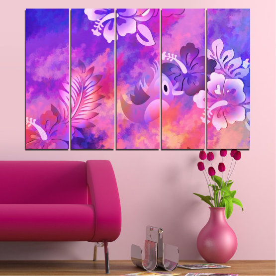 Canvas prints & wall decorative panels - 5 pieces №0484 » Pink, Purple, Gray, Milky pink » Flowers, Collage, Chinese rose, Birds Form #2
