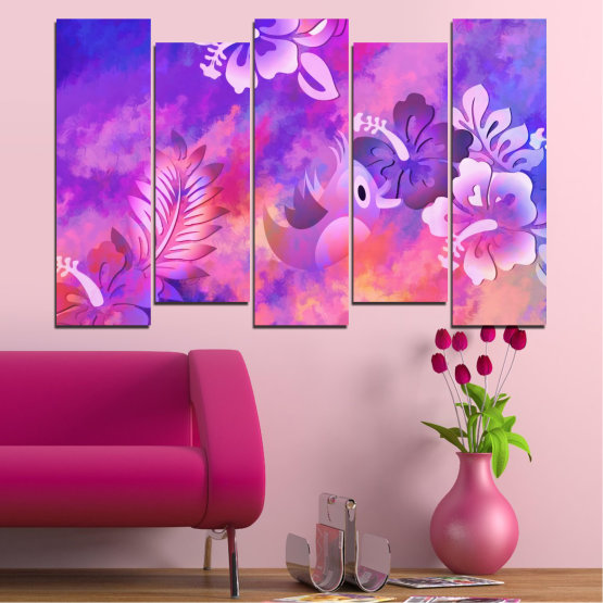 Canvas prints & wall decorative panels - 5 pieces №0484 » Pink, Purple, Gray, Milky pink » Flowers, Collage, Chinese rose, Birds Form #3
