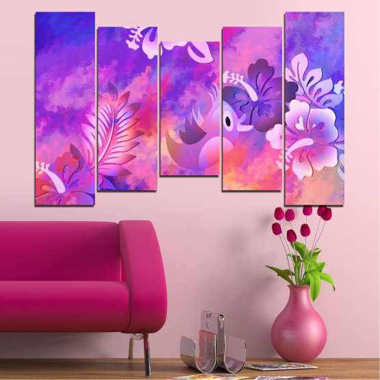 Canvas prints & wall decorative panels - 5 pieces №0484 » Pink, Purple, Gray, Milky pink » Flowers, Collage, Chinese rose, Birds Form #4