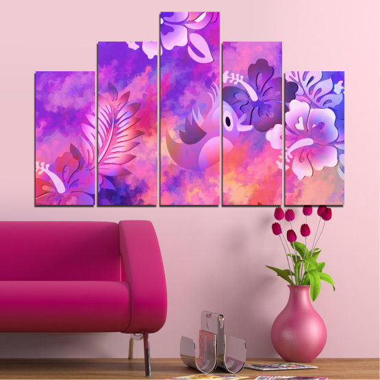 Canvas prints & wall decorative panels - 5 pieces №0484 » Pink, Purple, Gray, Milky pink » Flowers, Collage, Chinese rose, Birds Form #5