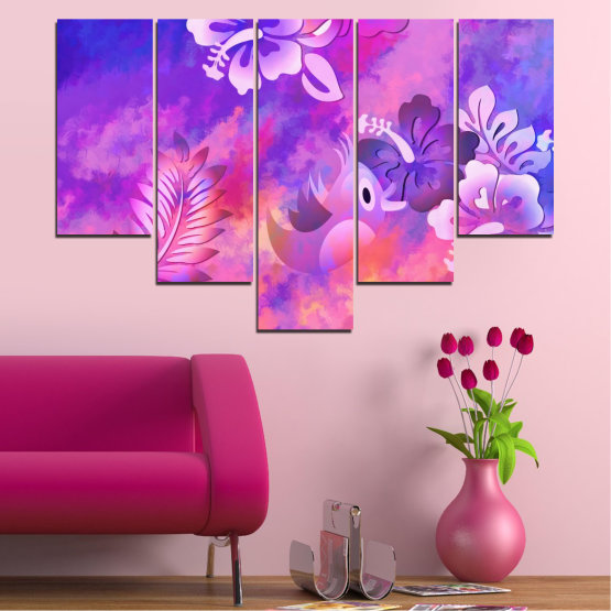 Canvas prints & wall decorative panels - 5 pieces №0484 » Pink, Purple, Gray, Milky pink » Flowers, Collage, Chinese rose, Birds Form #6