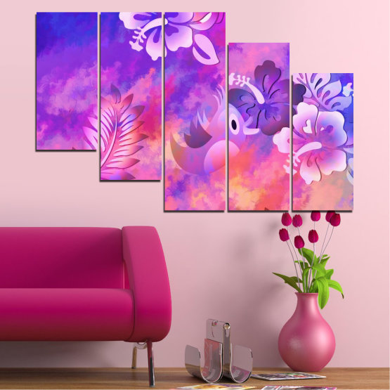 Canvas prints & wall decorative panels - 5 pieces №0484 » Pink, Purple, Gray, Milky pink » Flowers, Collage, Chinese rose, Birds Form #7