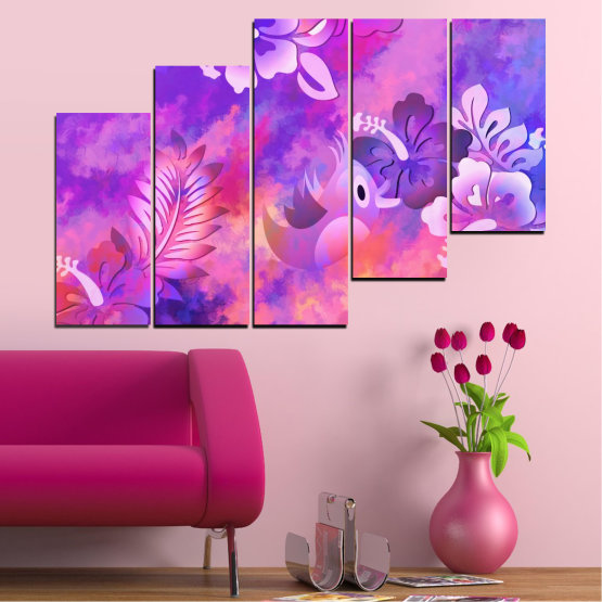 Canvas prints & wall decorative panels - 5 pieces №0484 » Pink, Purple, Gray, Milky pink » Flowers, Collage, Chinese rose, Birds Form #8