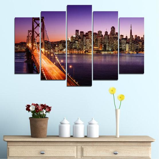 Canvas prints & wall decorative panels - 5 pieces №0485 » Purple, Brown, Black, Gray, Dark grey » City, Lights, New york, Night, Bridge, Usa Form #1