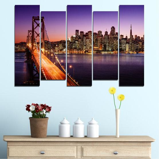 Canvas prints & wall decorative panels - 5 pieces №0485 » Purple, Brown, Black, Gray, Dark grey » City, Lights, New york, Night, Bridge, Usa Form #3