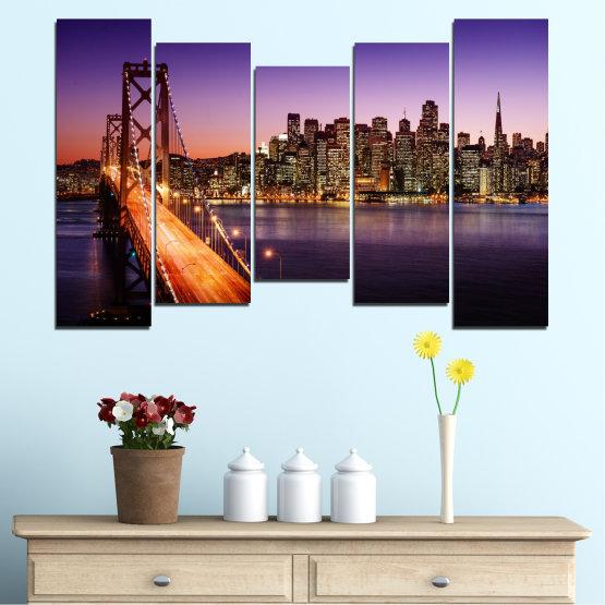 Canvas prints & wall decorative panels - 5 pieces №0485 » Purple, Brown, Black, Gray, Dark grey » City, Lights, New york, Night, Bridge, Usa Form #4