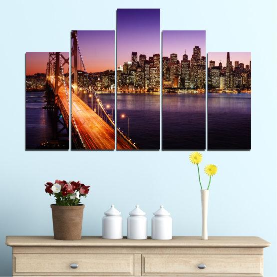 Canvas prints & wall decorative panels - 5 pieces №0485 » Purple, Brown, Black, Gray, Dark grey » City, Lights, New york, Night, Bridge, Usa Form #5