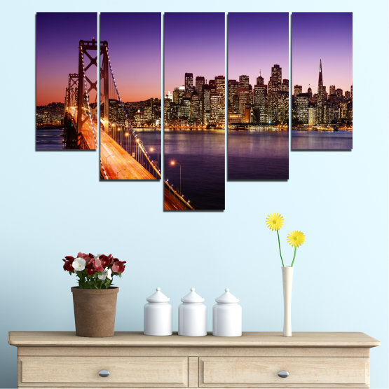 Canvas prints & wall decorative panels - 5 pieces №0485 » Purple, Brown, Black, Gray, Dark grey » City, Lights, New york, Night, Bridge, Usa Form #6