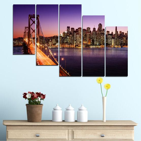 Canvas prints & wall decorative panels - 5 pieces №0485 » Purple, Brown, Black, Gray, Dark grey » City, Lights, New york, Night, Bridge, Usa Form #7