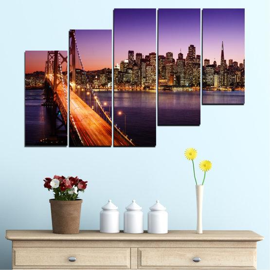 Canvas prints & wall decorative panels - 5 pieces №0485 » Purple, Brown, Black, Gray, Dark grey » City, Lights, New york, Night, Bridge, Usa Form #8
