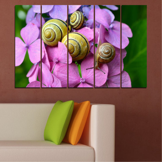 Canvas prints & wall decorative panels - 5 pieces №0486 » Purple, Green, Gray, Milky pink » Flowers, Animal, Snail Form #2