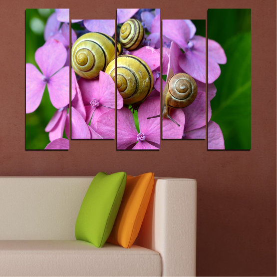 Canvas prints & wall decorative panels - 5 pieces №0486 » Purple, Green, Gray, Milky pink » Flowers, Animal, Snail Form #3