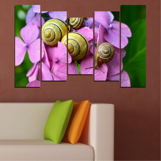 Canvas prints & wall decorative panels - 5 pieces №0486 » Purple, Green, Gray, Milky pink » Flowers, Animal, Snail Form #4